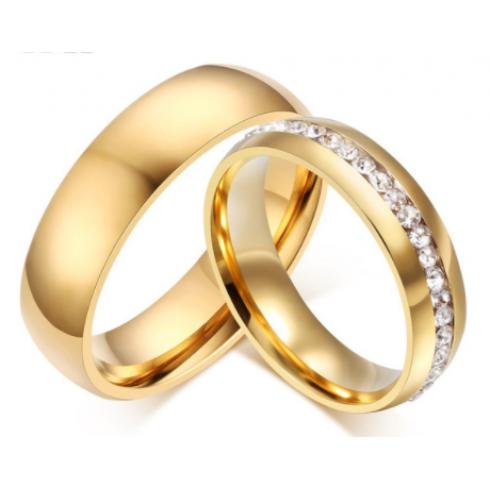 Anel Aliança em Aço Inoxidável o Par e Com Cristais