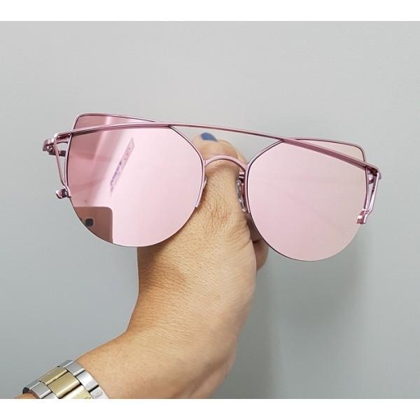 4bf6b8c69c0d5 Óculos de Sol Fashion Gatinha Rosa Espelhado