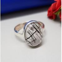 Anel de Prata 925 Com Pedra Quartzo Rutilada