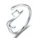 Anel Charm Europeu de Prata Formato Gatinho