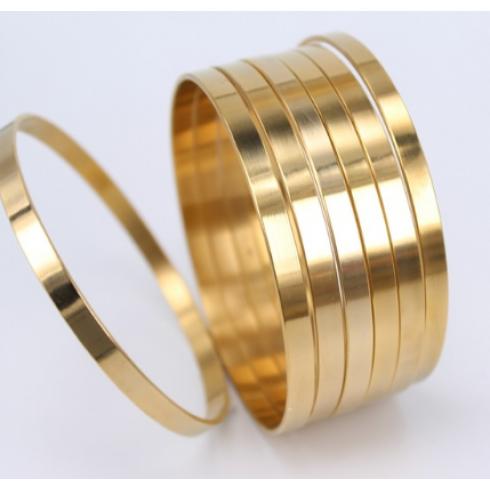 f3754f50cd8 Conjunto com 7 Braceletes Dourado em Aço 5mm
