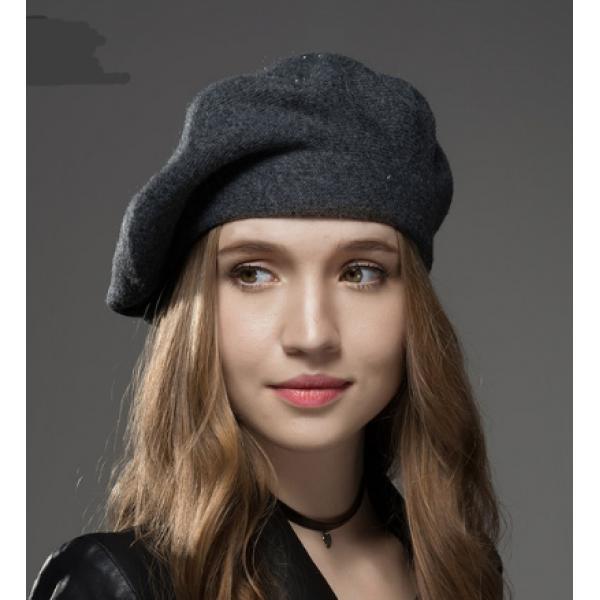 Boina Francesa Feminina Cinza em Lã com Cristais cad050630aa
