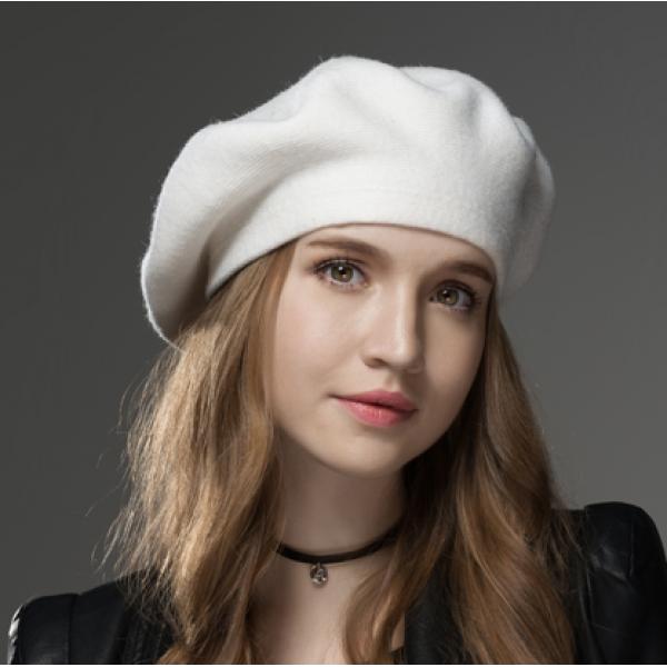 Boina Francesa Feminina White em Lã com Cristais 736160fd3b4