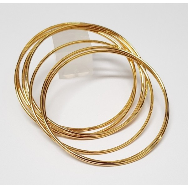 fcffcf0c22a Conjunto com 7 Braceletes Dourados Folheados