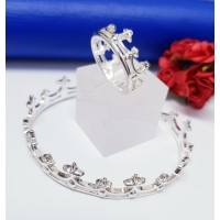 Conjunto De Bracelete Com Anel Formato Coroa - PSI0198