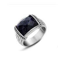 Anel Masculino Retangular Cristal Azul - ANI0115