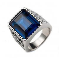 Anel Masculino Retangular Cristal Azul