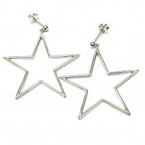 Brincos Charm Europeu Prata 925 Formato Estrela Grande