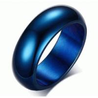 Anel Aliança em Aço Inoxidável Azul Cobalto