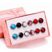 Conjunto de Brincos Redondinhos com Pedras Coloridas