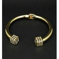 Bracelete Rígido Folheado com Pontas Quadradas
