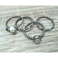 Conjunto de 4 Anéis em Metal Envelhecido